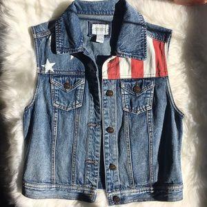 American Flag Jean Vest